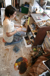 "Artist Kailee Viator sorts through her supplies as she prepares for her solo show, ""Memento Mundi,"" opening at The Art Studio, beginning Feb. 7, 2015."
