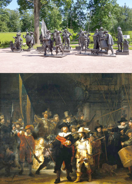 "Alexander Taratynov and Mikhail Dronov's, ""The Night Watch,"" top, and Rembrandt van Rijn's ""Militia Company of District II under the Command of Captain Frans Banninck Cocq, Known as 'the Night Watch.'"""