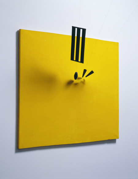 """Takis, """"Magnetic Painting No. 7, 1962,"""" Oil on canvas, magnets, silk ribbon, and cork. The Menil Collection, Houston. © 2014 Artists Rights Society (ARS), New York / ADAGP, Paris. Photo: Hickey-Robertson, Houston."""