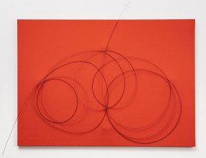 """Takis, """"Magnetic Wall – M.W. 038,"""" 1999, Painted canvas, wires, and magnets. The Menil Collection, Houston, Gift of the Artist. © 2014 Artists Rights Society (ARS), New York / ADAGP, Paris. Photo: Paul Hester."""