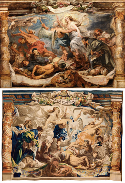 """Peter Paul Rubens, """"The Victory of Truth over Heresy,"""" top, c. 1625, oil on panel, Museo Nacional del Prado, Madrid, and  """"Woven by Jacob Geubels II after designs by Peter Paul Rubens, The Victory of Truth over Heresy,"""" above,, c. 1625–33, wool and silk, Patrimonio Nacional, Madrid, Monasterio de las Descalzas Reales."""
