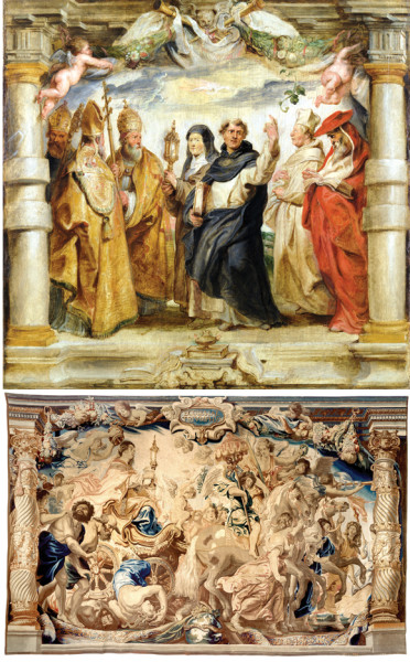 """Peter Paul Rubens, """"The Triumph of the Church,"""" top, c. 1625, oil on panel, Museo Nacional del Prado, Madrid, and """"Woven by Jan Raes I after designs by Peter Paul Rubens, The Triumph of the Church,"""" above, c. 1625–33, wool and silk, Patrimonio Nacional, Madrid, Monasterio de las Descalzas Reales."""