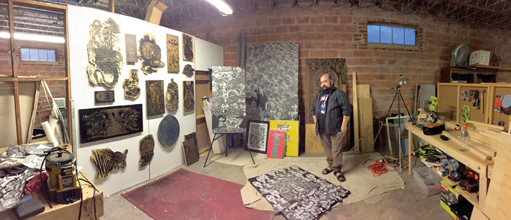 Maurice Abelman in his work space at The Art Studio, Inc.