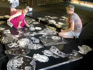 Students work on a collage during Maurice Abelman's workshop in Estonia in summer 2015.