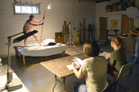 Model Tack Somers poses during a recent life drawing session at The Art Studio.