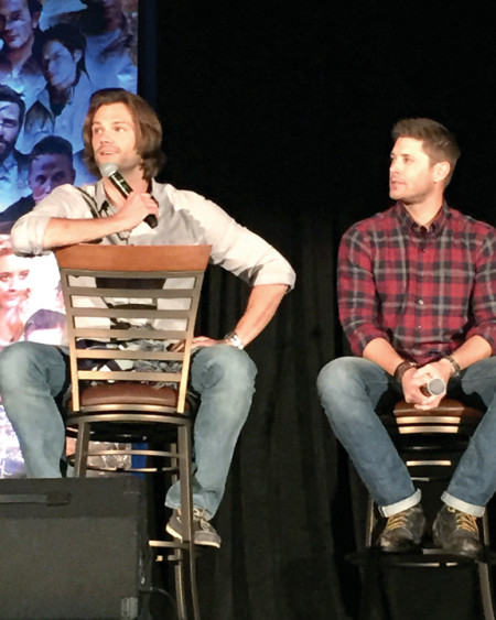"Jared Padalecki, left, and Jensen Ackles entertain the crowd at the ""Supernatural"" convention in Dallas, Sept. 11-13. They play Sam and Dean Winchester on the CW TV show."