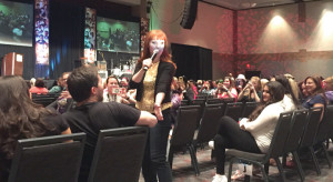 Ruth Connell, who plays the witch Rowena, plays to the crowd at the Supernatural Convention in Dallas, Sept. 11.