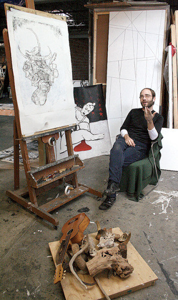 David Granitz III talks about his work in his tenant space at The Art Studio.