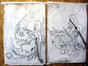 """A pair of David Granitz's """"trace monoprints,"""" made by transfering ink from Mylar onto paper or canvas."""