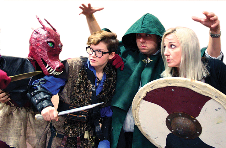 """Wyatt Curry, Donny Avery and Mary Hooker, battle a monster during a rehearsal for """"She Kills Monsters"""" at the Betty Greenberg Center Performing Arts."""
