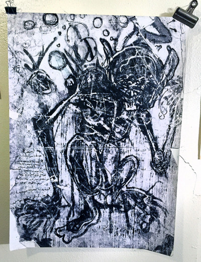 """A work in progress for Neal Pitak's exhibition """"The Mighty Coprolite."""""""